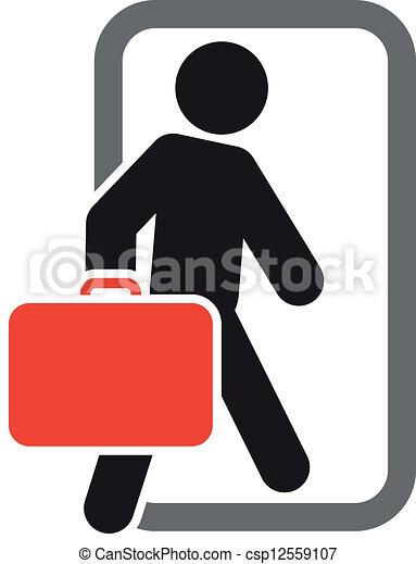 expedir, passageiro, em movimento, bagagem - csp12559107
