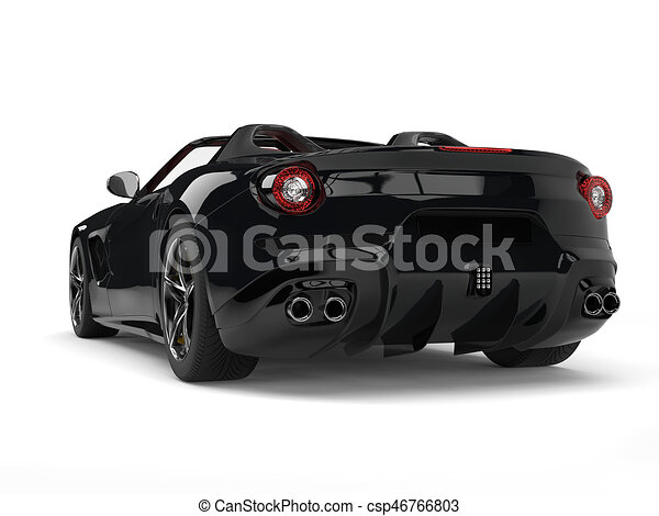 Expensive Modern Black Sports Car Back View