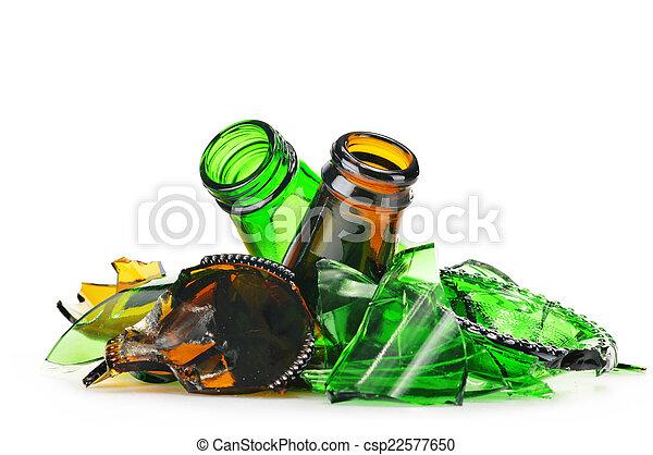 experiência., sobre, reciclagem, pedaços, vidro, quebrada, branca - csp22577650