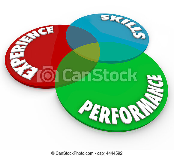 Experience Skills Performance Venn Diagram Employee Review - csp14444592