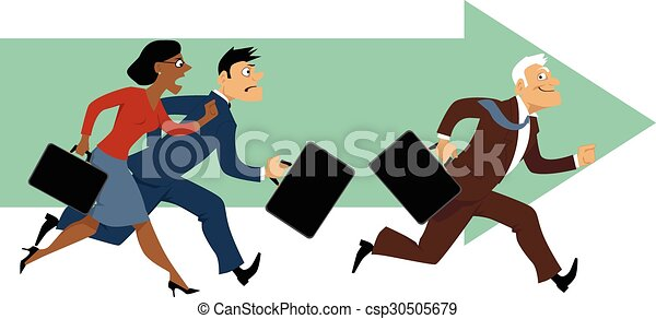 Experience trumps youth elderly employee leaving behind his elderly employee leaving behind his younger colleagues eps 8 vector illustration sciox Image collections