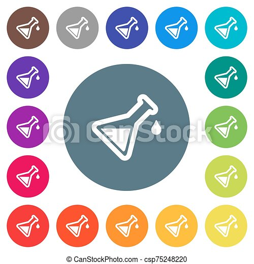 Experiment flat white icons on round color backgrounds - csp75248220