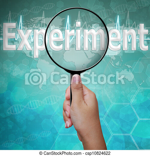 Experiment , word in Magnifying glass , background medical - csp10824622