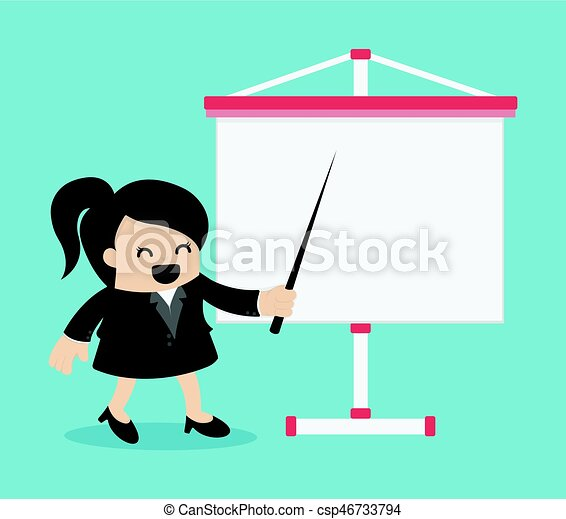 explicando, negócio mulher, relatório, tábua, sala reuniões, branca, quarto - csp46733794