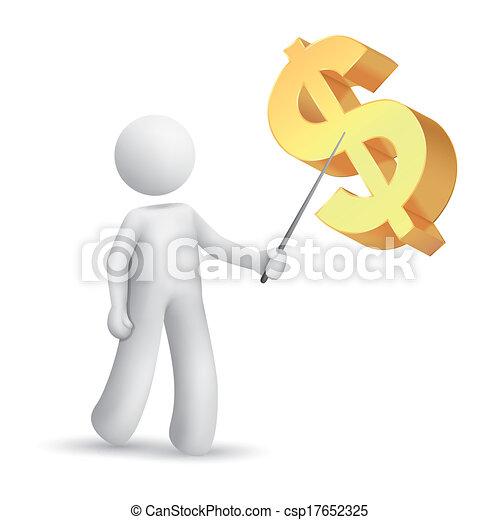 explicar, símbolo, hombre, dólar, 3d - csp17652325