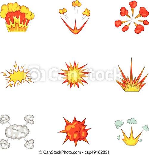 Explode animation effect icons set, cartoon style. Explode animation ...