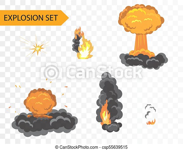 Explode animation effect. vector cartoon explosion set on alpha ...