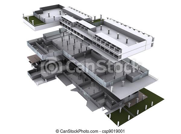 3d de arquitectura explotó. - csp9019001