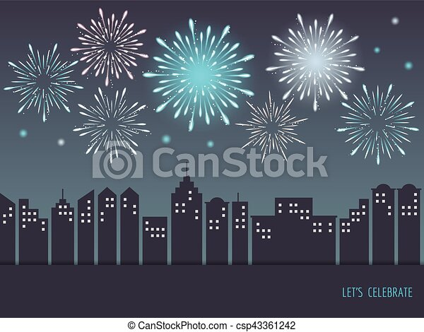 exploding colorful fireworks over cityscape csp43361242