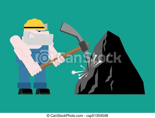 exploitation minière, mining., fonctionnement, isolated., ouvrier, travail, mineur, illustration, mine., charbon, vecteur, collier, pickaxe., pitman - csp51354548