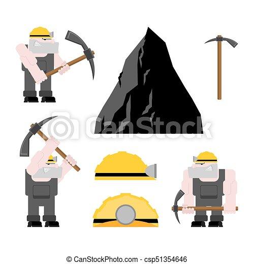 exploitation minière, mining., fonctionnement, ouvrier, set., travail, mineur, illustration, mine., charbon, vecteur, collier, pickaxe., pitman - csp51354646
