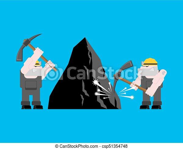 exploitation minière, mining., fonctionnement, isolated., ouvrier, travail, mineur, illustration, mine., charbon, vecteur, collier, pickaxe., pitman - csp51354748