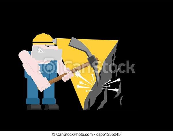exploitation minière, mining., fonctionnement, isolated., ouvrier, travail, mineur, illustration, mine., charbon, vecteur, collier, pickaxe., pitman - csp51355245