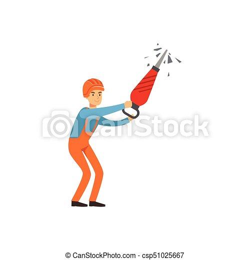 exploitation minière, travail, fonctionnement, industrie, mineur, illustration, uniforme, charbon, vecteur, professionnel, mâle, marteau-piqueur - csp51025667