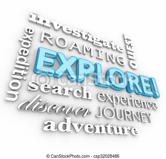 Explore 3d Word Collage Expedition Discovery Journey - csp32028486