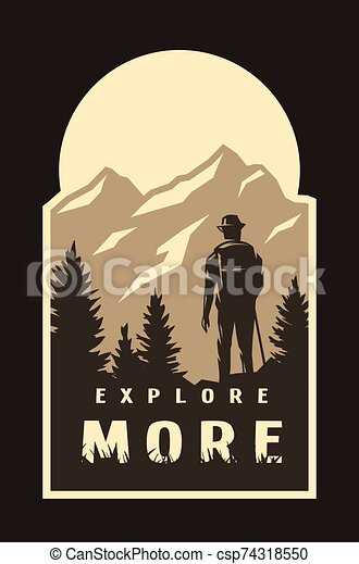Explore more. Traveler on the background of wildlife on a dark background. Vector illustration. - csp74318550