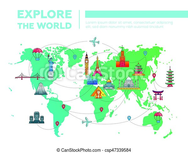 explore the world map with famous landmarks explore the