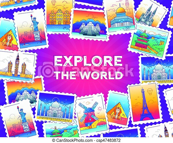 Explore the world - vector line travel illustration - csp47483872