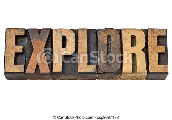 explore word in letterpress wood type - csp9697172