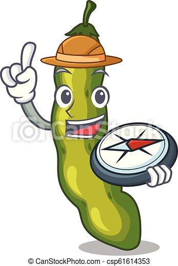 Explorer cartoon fresh green beans for cooking - csp61614353