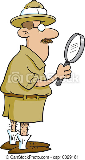Explorer holding a magnifying glass - csp10029181
