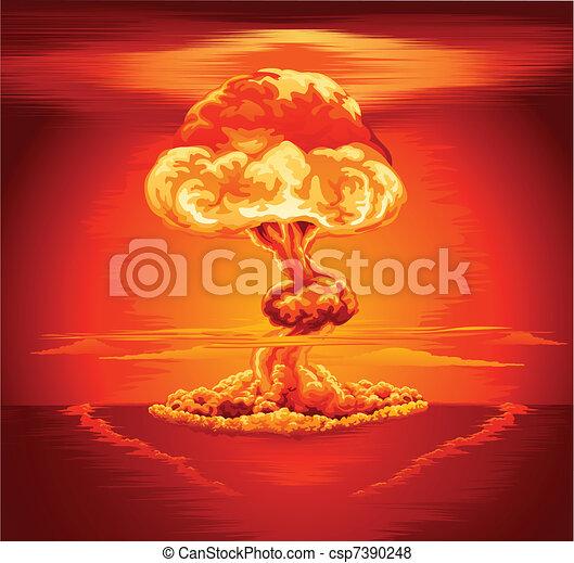 explosão nuclear, nuvem cogumelo - csp7390248