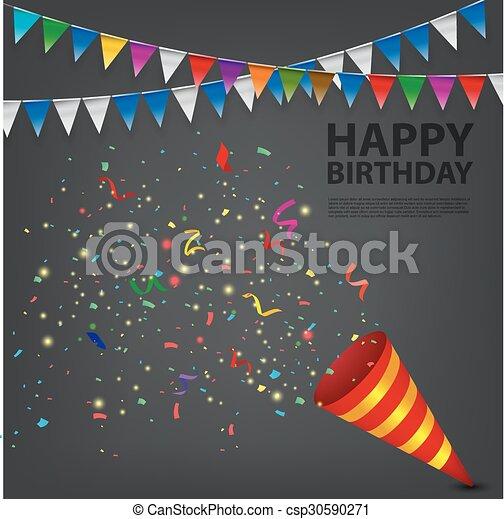 exploser, anniversaire, popper, confetti - csp30590271
