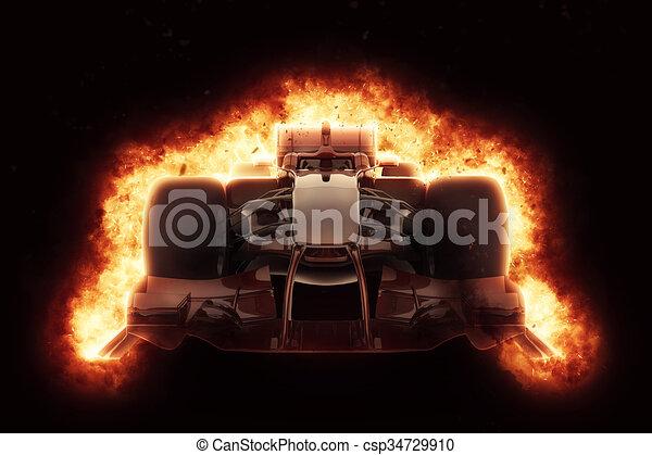 Coche de carreras 3D con efectos de explosión ardiente - csp34729910