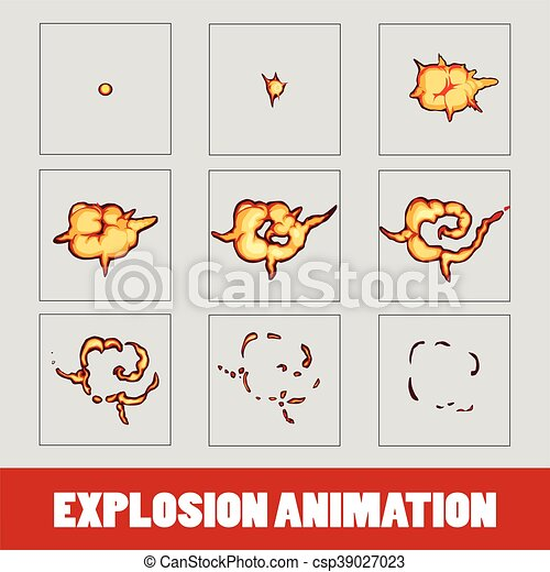 Explosion, cartoon explosion animation frames for game. sprite sheet ...