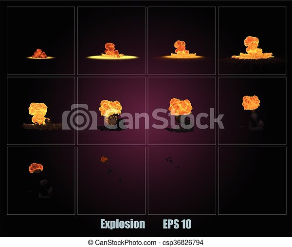 Explosion, cartoon explosion - csp36826794