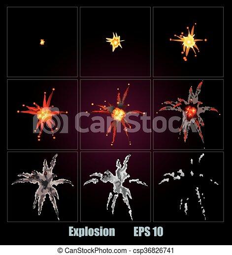 Explosion, cartoon explosion - csp36826741
