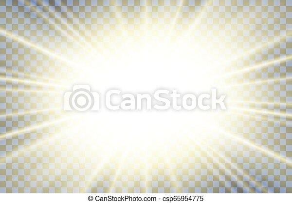 Sonnenstrahlen. Starburst Helleffekt, isoliert auf transparentem Hintergrund. Gold Light-Star-Blitz. Abstrakte Strahlen. Vibrant magische Explosion. Glowing-Strahl, Linseneffekt. Vector Illustration - csp65954775