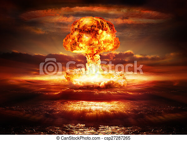 explosion nuclear bomb in ocean - csp27287265