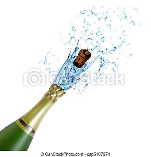 explosion of champagne bottle cork - csp5107374