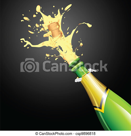 Explosion of Champagne Bottle Cork - csp9896818