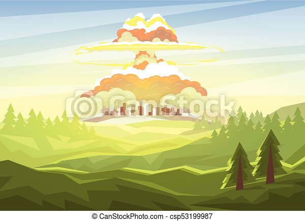 Explosion of nuclear bomb over city - csp53199987