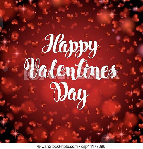 Explosion Romantique Texte Cadre Valentines Quote étincelant Brouillé Arrière Plan Vecteur Hearts Illustration Fond Petit Tomber