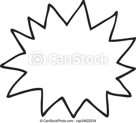 Explosion Simple Symbole Noir Blanc Dessin Animé