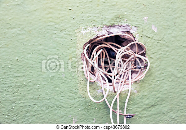 Stupendous Exposed Wire In The Electrical Wiring In The Wall Wiring Cloud Hisonuggs Outletorg
