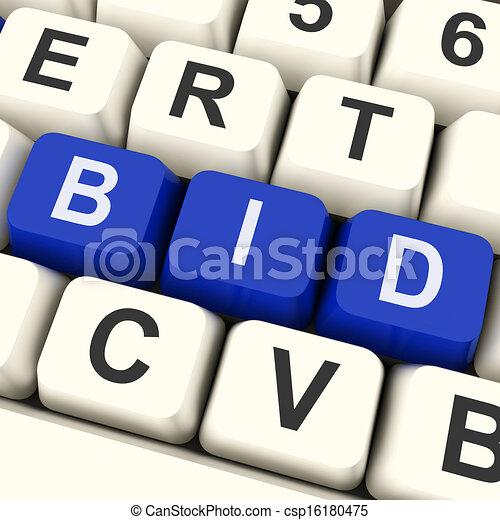 exposition, clés, offre, enchère, enchère, ligne, ou - csp16180475