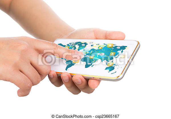 exposition, communication mobile, moderne, main, téléphone, t, tenue, technologie - csp23665167