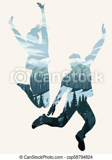 exposition, gens, double, silhouettes, sauter, heureux - csp58794824