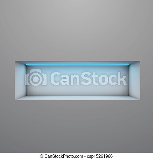 Exposition shelf illuminated with neon light vector illustration. - csp15261966