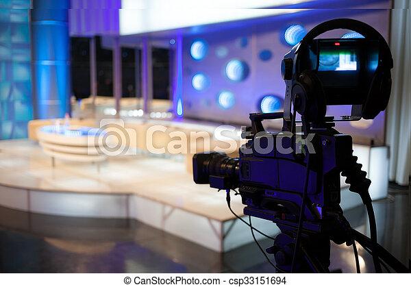 exposition, tv, -, enregistrement, appareil photo, vidéo, studio - csp33151694