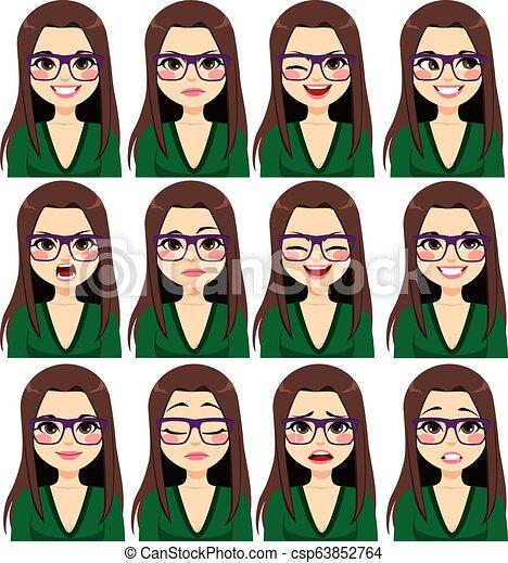 expressões, mulher, morena, óculos - csp63852764