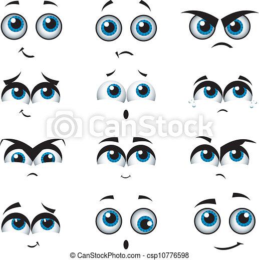 expressões, vário, caricatura, caras - csp10776598