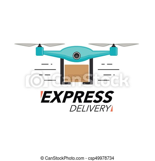 Express delivery icon concept  Drone service, order, worldwide shipping