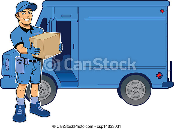 Express Delivery Man and Truck - csp14833031