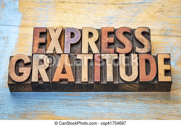 express gratitude word abstract in wood type - csp41754697
