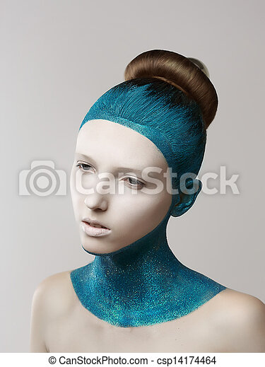 Expression. Fantasy. Eccentric Woman with Blue Painted Skin and Hair. Coloring - csp14174464